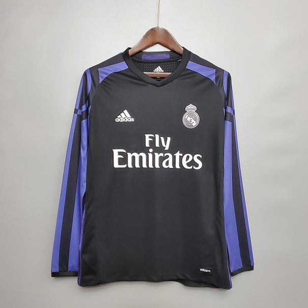 AAA Quality Real Madrid 15/16 Away Black Long Soccer Jersey